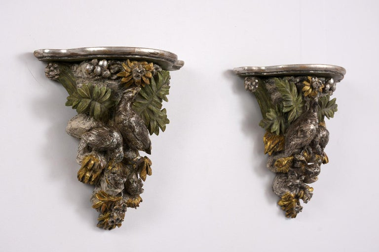 Renaissance Revival French circa 1840s Pair of  Brackets with a Silver Leaf Finishes For Sale