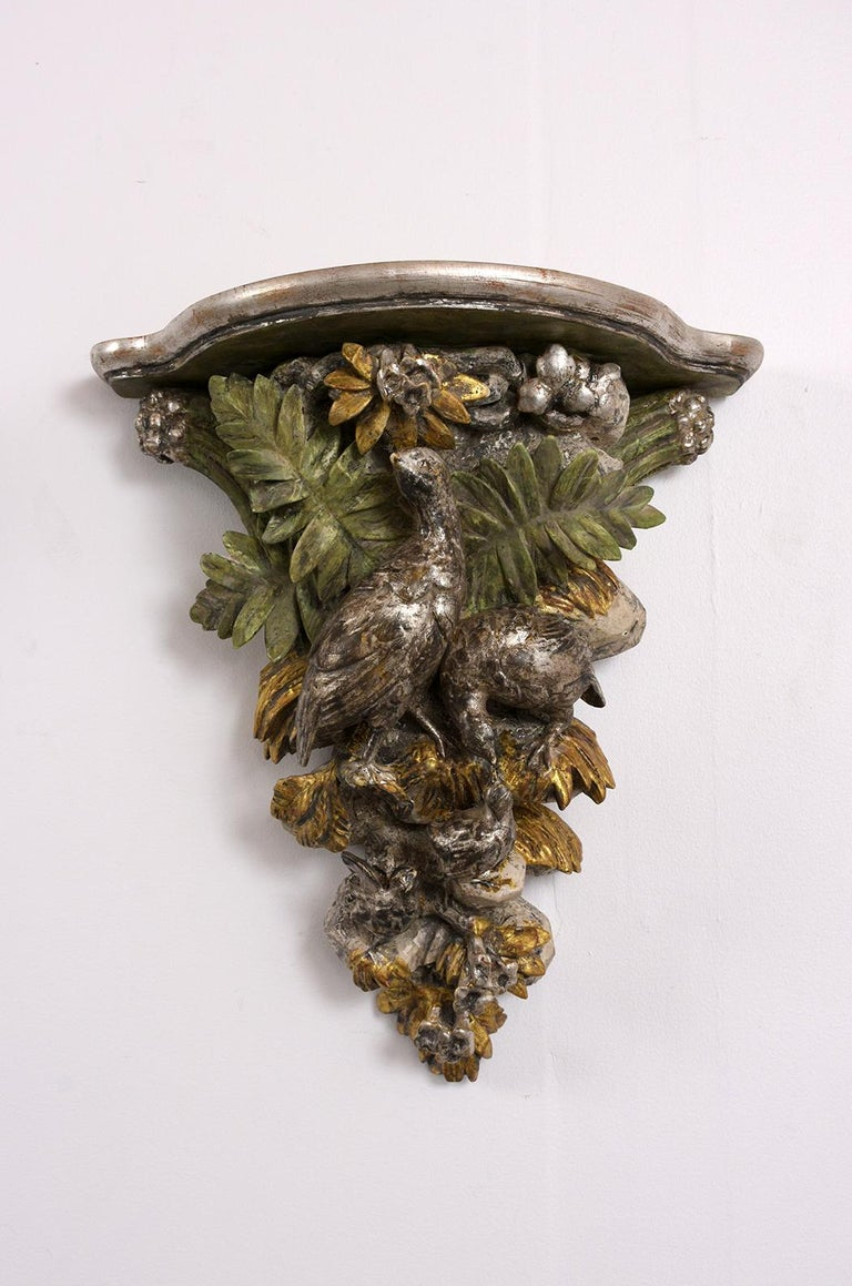 Hand-Carved French circa 1840s Pair of  Brackets with a Silver Leaf Finishes For Sale