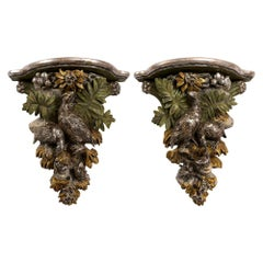 French circa 1840s Pair of  Brackets with a Silver Leaf Finishes