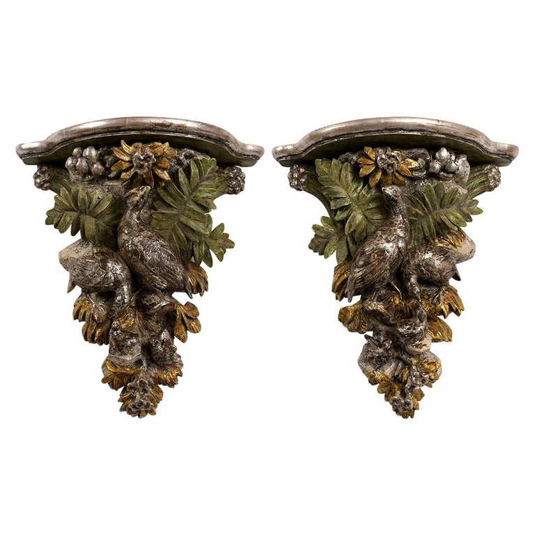 French circa 1840s Pair of  Brackets with a Silver Leaf Finishes For Sale