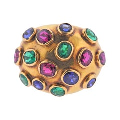 French Circa 1930s Emerald Sapphire Ruby Gold Dome Ring