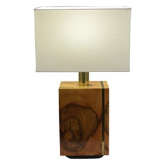French circa 1950s Burl Wood Table Lamp