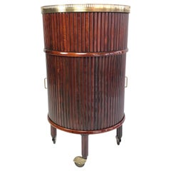 French Circular Mahogany and Brass Bar Cart on Wheels