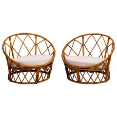 French Circular Rattan Chairs