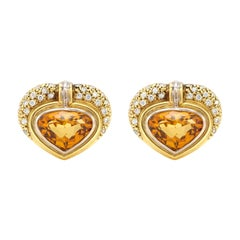 French Citrine with Diamonds Earrings
