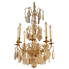 French Classic 1930s Crystal Chandelier