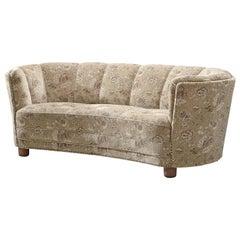 French Classic Settee with Beige Floral Upholstery