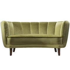 French Classic Sofa with Green Velvet Upholstery