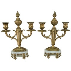 French Classical Double Arm Bronze Candelabra