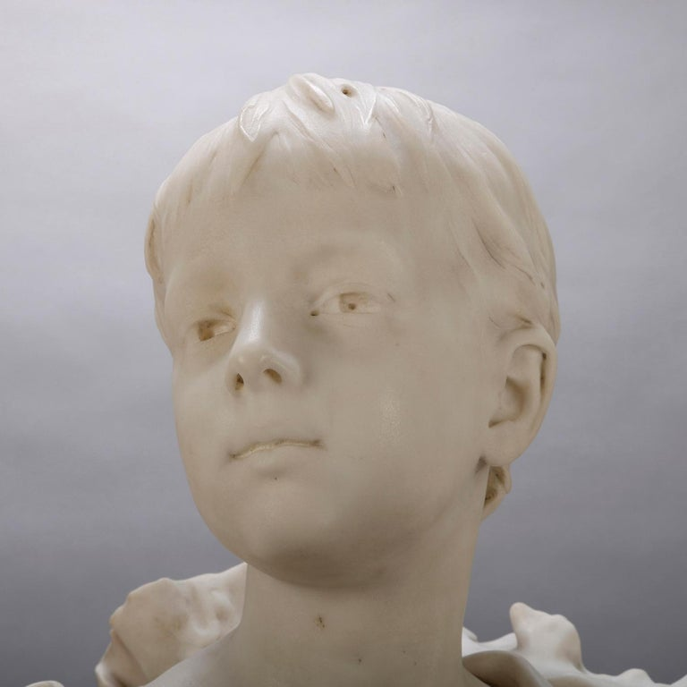 Hand-Carved French Classical Marble Sculpture of Boy Signed Alphonse Henri Nelson circa 1880 For Sale