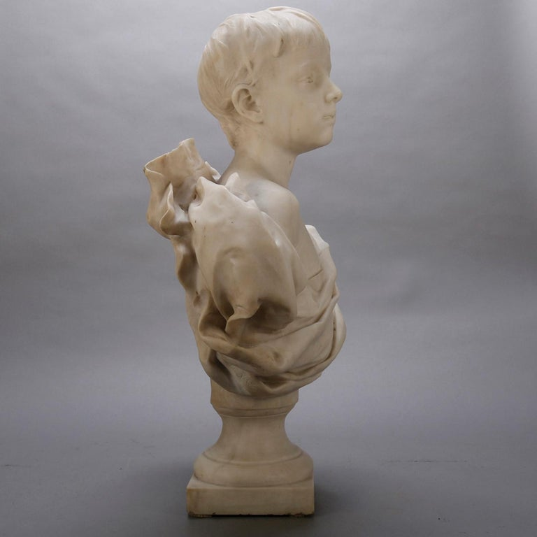 French Classical Marble Sculpture of Boy Signed Alphonse Henri Nelson circa 1880 In Good Condition For Sale In Big Flats, NY