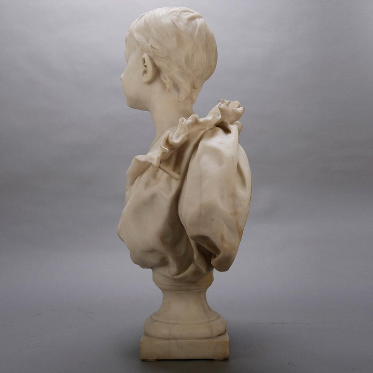 French Classical Marble Sculpture of Boy Signed Alphonse Henri Nelson circa 1880 For Sale 1
