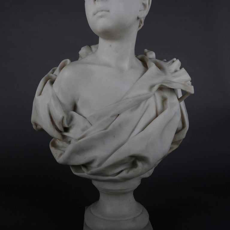 French Classical Marble Sculpture of Boy Signed Alphonse Henri Nelson circa 1880 For Sale 3