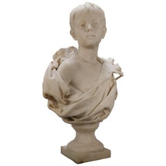 French Classical Marble Sculpture of Boy Signed Alphonse Henri Nelson circa 1880