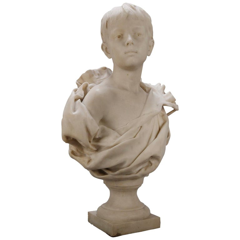 French Classical Marble Sculpture of Boy Signed Alphonse Henri Nelson circa 1880 For Sale