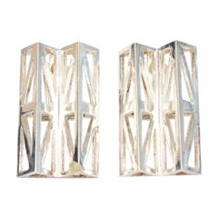 French Claude Montana Geometric and Sculptural Silver Plate Runway Earrings