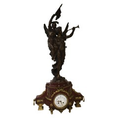 French Clock by H Koudebine, Paris with Figural Bronze by Charles Anfrie