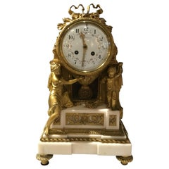 French Clock Garniture Set in White Marble and Bronze Dore