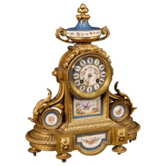French Clock in Bronze or Brass Gilded with Painted Ceramic, 20th Century