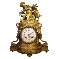 French Clock in Gilt Bronze, 20th Century