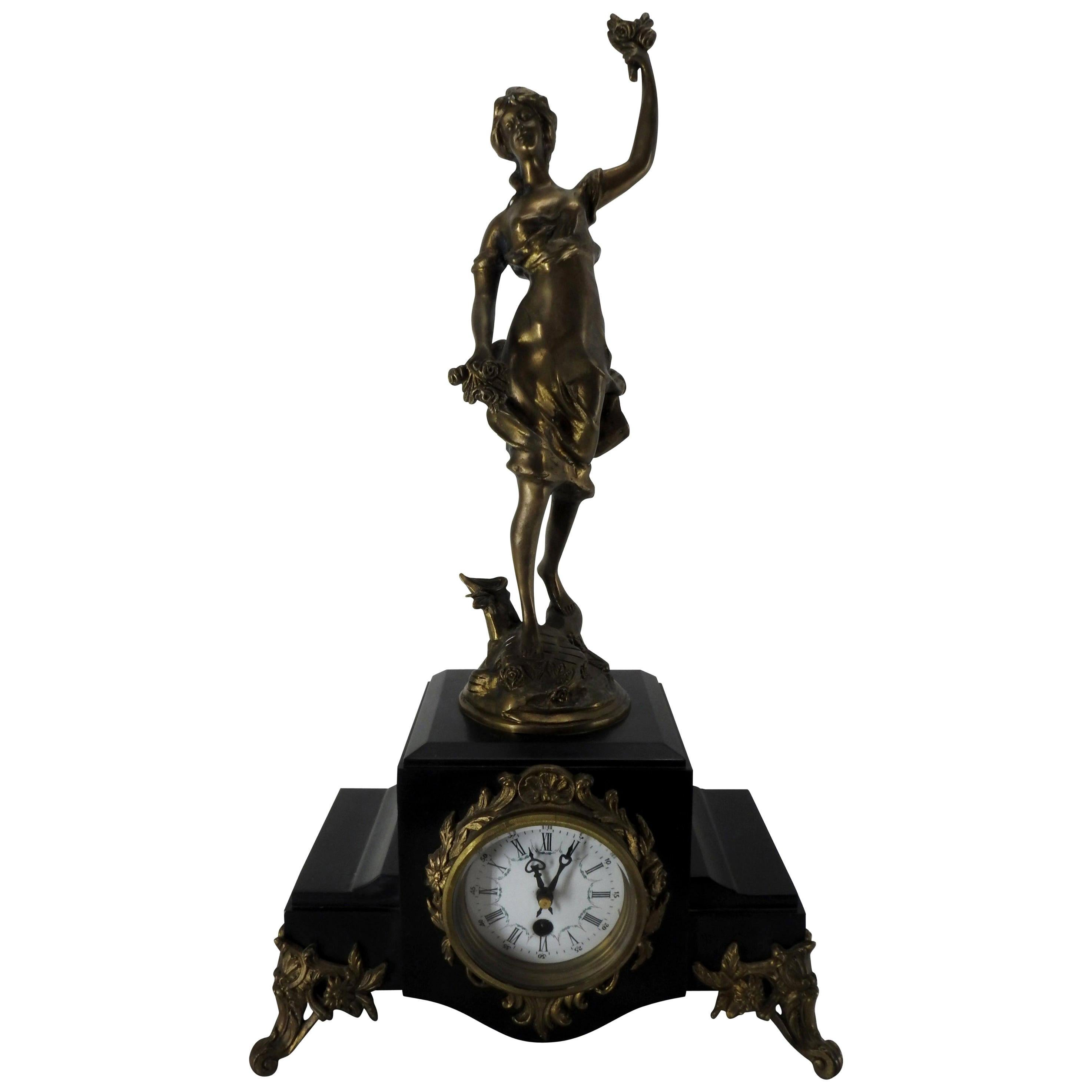 French Clock with Bronze Figure Signed S. Suirat