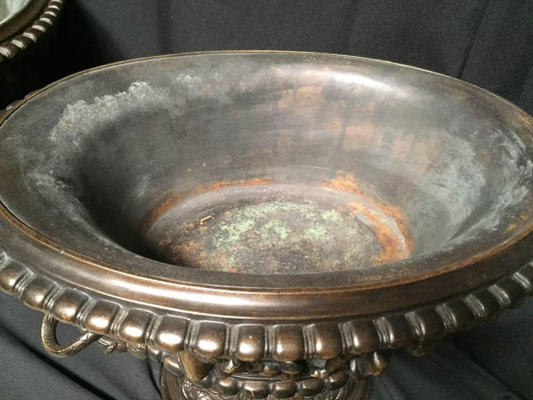 French Clodion Style Oval Bowl with Cherub Handles For Sale 2