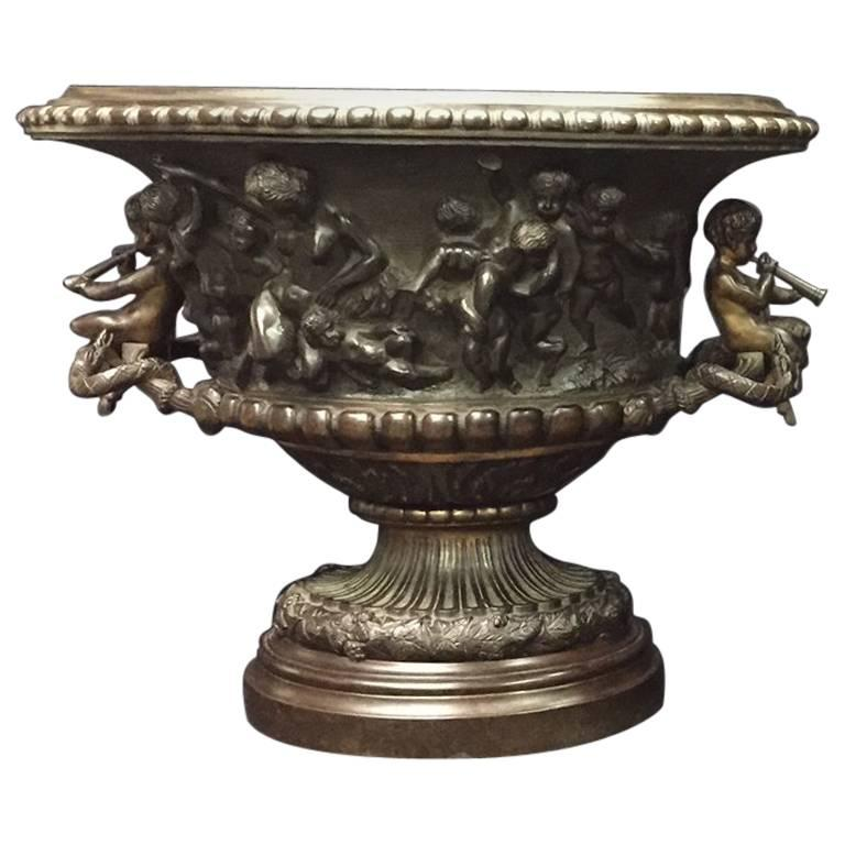 French Clodion Style Oval Bowl with Cherub Handles For Sale