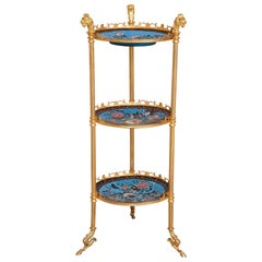 French Cloisonné Enamel and Gilt Metal Three-Shelf Tiered Table in Empire Style