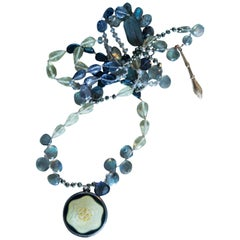French Cloisonne Enamel, Silk Knotted Labradorite, Citrine, Iolite, Necklace