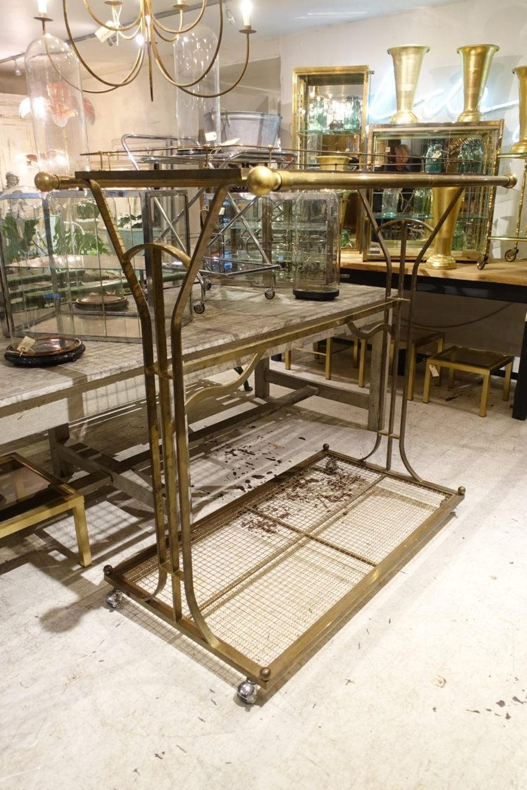 Mid-20th Century French Clothes Rack/Boutique Display/Shelves-Brass