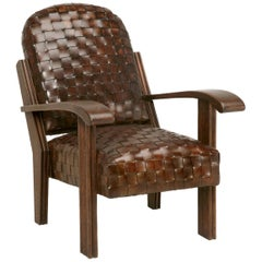 French Club Chair in Handwoven Leather Built to Your Specifications