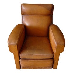 French Club Chair of Brown Leather, circa 1930s.