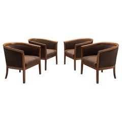 French Club Chairs in Brown Fabric, 1940s