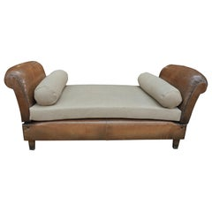 French Club Leather Sofa or day bad 1950s