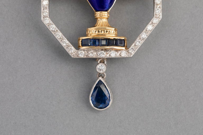 Women's French Cocktail Brooch, Gold Diamonds and Enamel For Sale