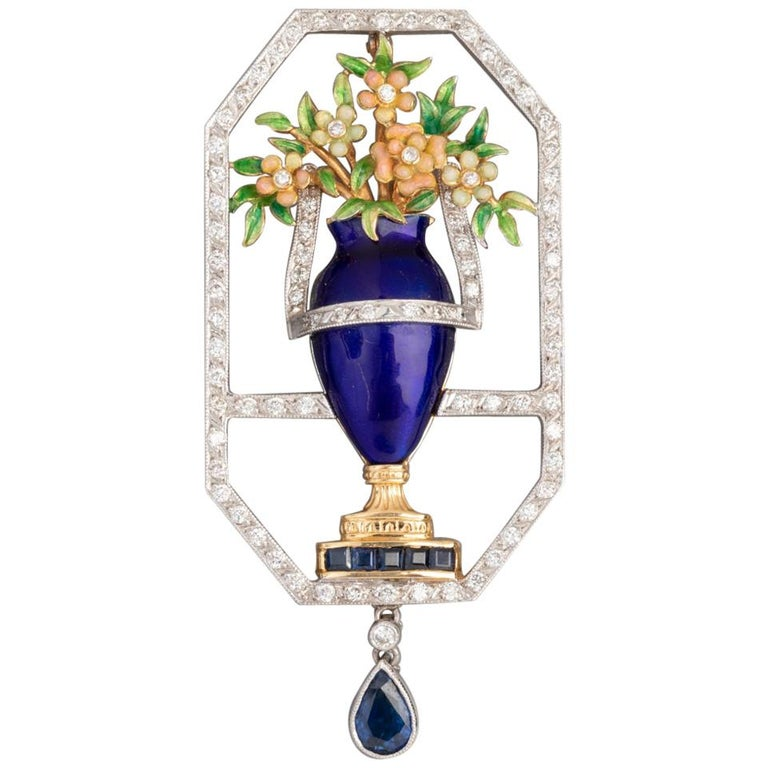 French Cocktail Brooch, Gold Diamonds and Enamel For Sale