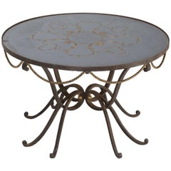 French Coffee Table Églomisé Attributed to Raymond Subes and Max Ingrand