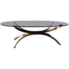 French Coffee Table in Chrome with Gold Finish in Hollywood Regency Style, 1970s