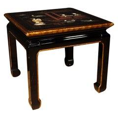 French Coffee Table in Lacquered Wood, Painted and Gilded with Chinoiserie