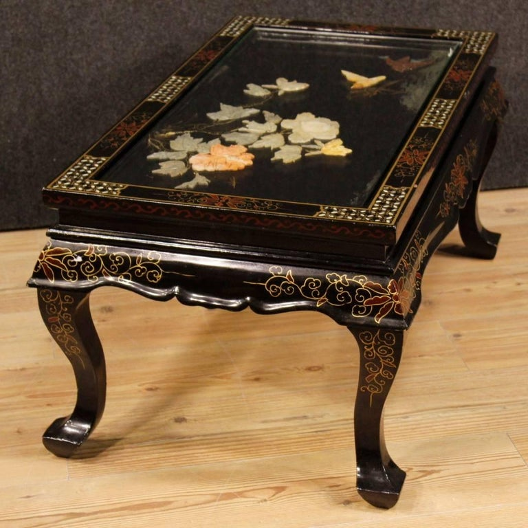 French Gilt Coffee Table: French Coffee Table In Lacquered, Gilt, Painted Chinoiserie Wood, 20th Century For Sale At 1stdibs