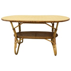 French Coffee Table Rattan, Midcentury