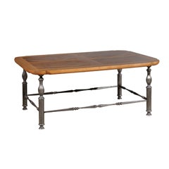 French Coffee Table with Antique Walnut Parquetry Top and Baluster Iron Base