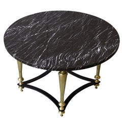 French Coffee Table with Grey Marble, 1940s