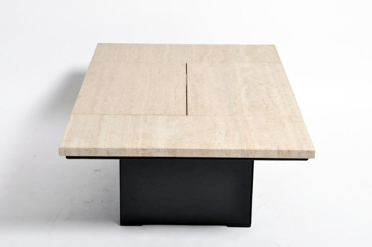French Coffee Table with Movable Travertine Marble Top by Paul Michel For Sale 5