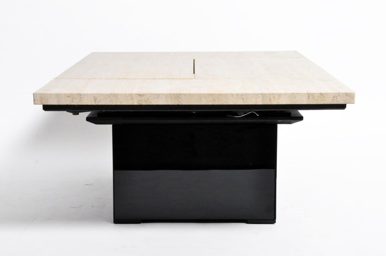 French Coffee Table with Movable Travertine Marble Top by Paul Michel For Sale 6