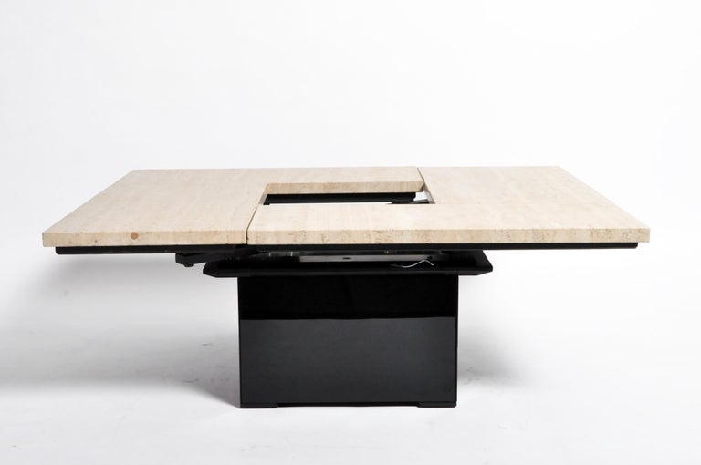 French Coffee Table with Movable Travertine Marble Top by Paul Michel For Sale 8