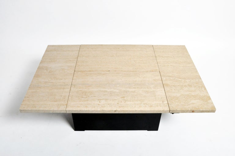 French Coffee Table with Movable Travertine Marble Top by Paul Michel For Sale 9