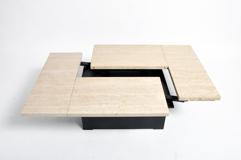 French Coffee Table with Movable Travertine Marble Top by Paul Michel For Sale 10