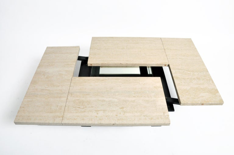 French Coffee Table with Movable Travertine Marble Top by Paul Michel For Sale 11
