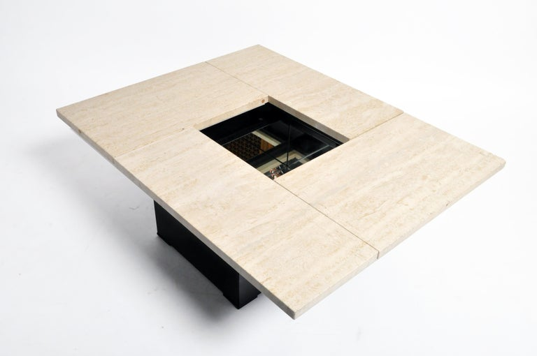 French Coffee Table with Movable Travertine Marble Top by Paul Michel In Good Condition For Sale In Chicago, IL